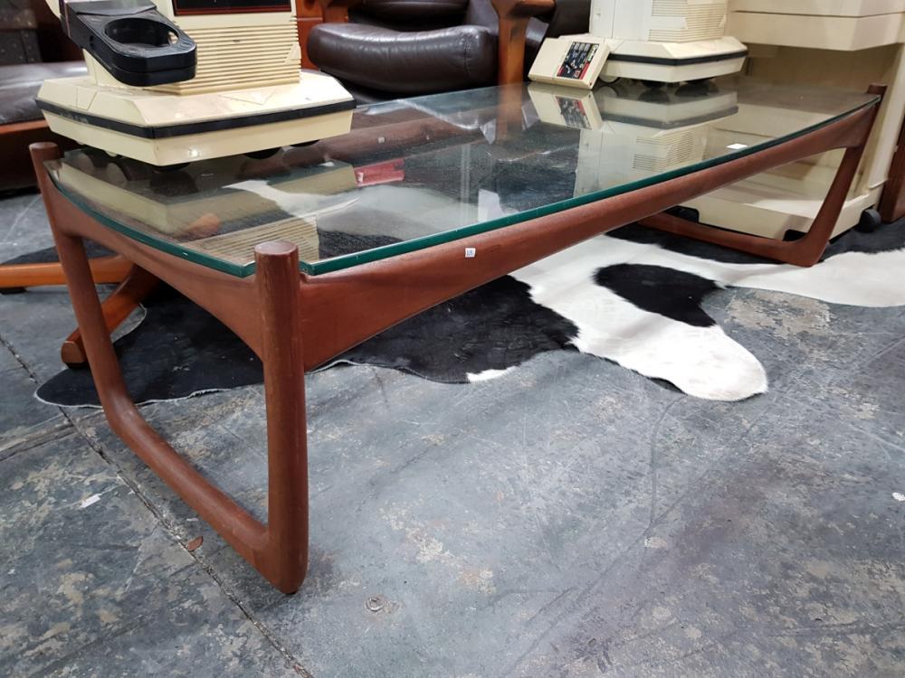 Quality Teak Danish Coffee Table with Glass Top