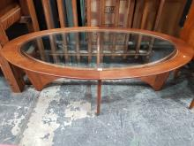 Lot 1064: Oval G Plan Atmos Coffee Table with Glass Top