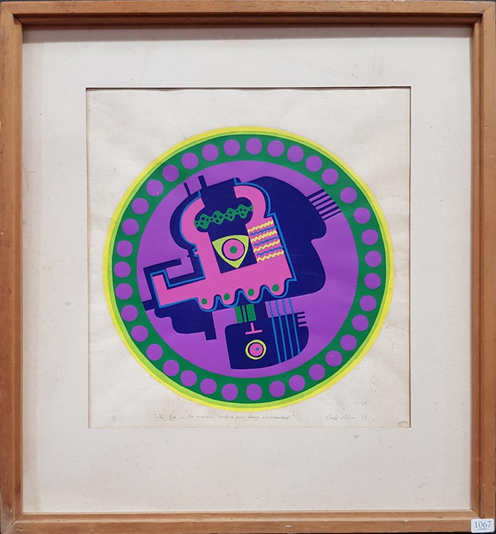 Lot 1067: Wendy Adams 'The eye in the martian machine gun, being electrocuted 1969' screenprint ed. 6/10, 59 x 54cm (frame), signed and dated...
