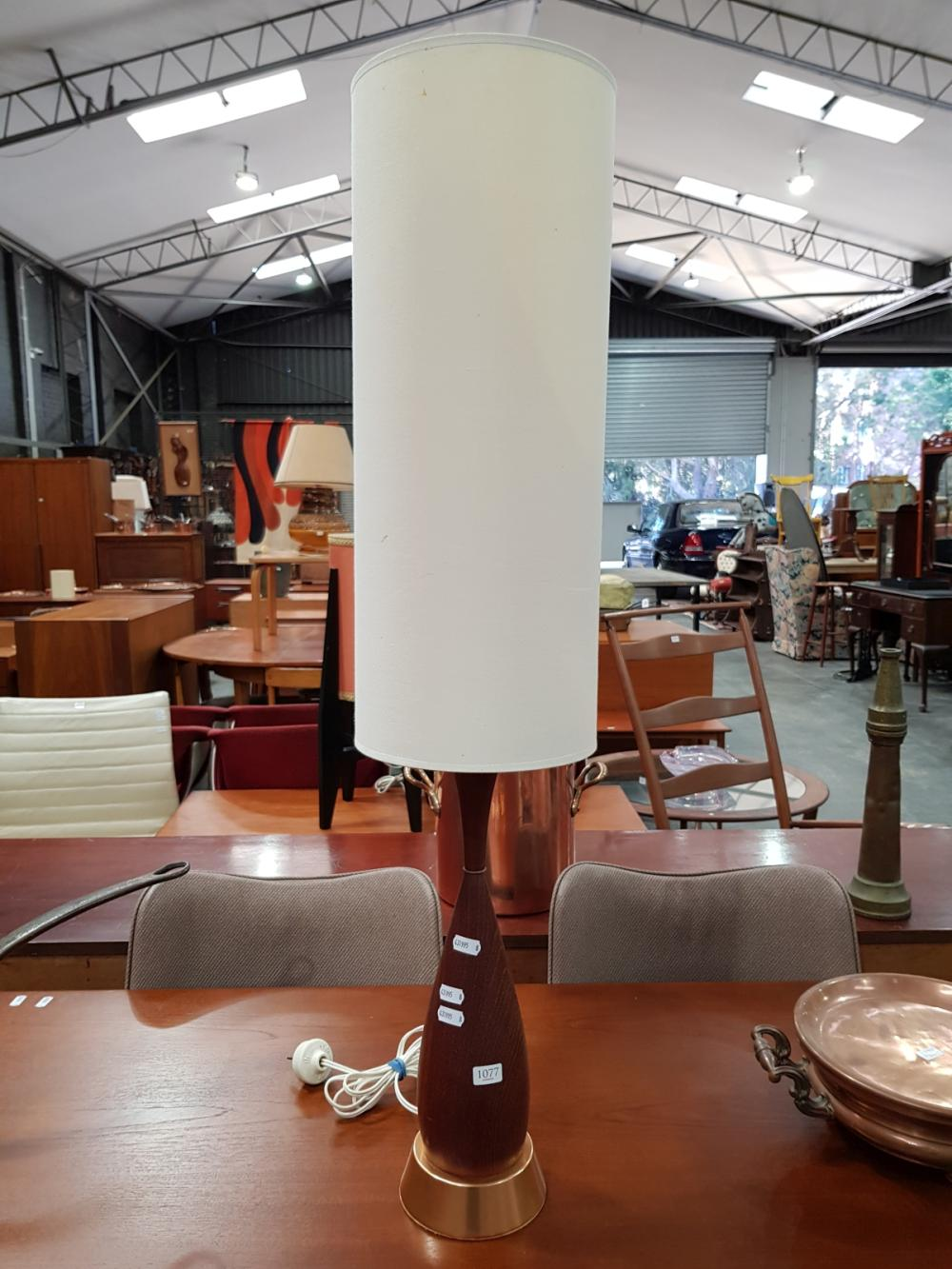 Lot 1077: Teak and Copper Table Lamp with Shade