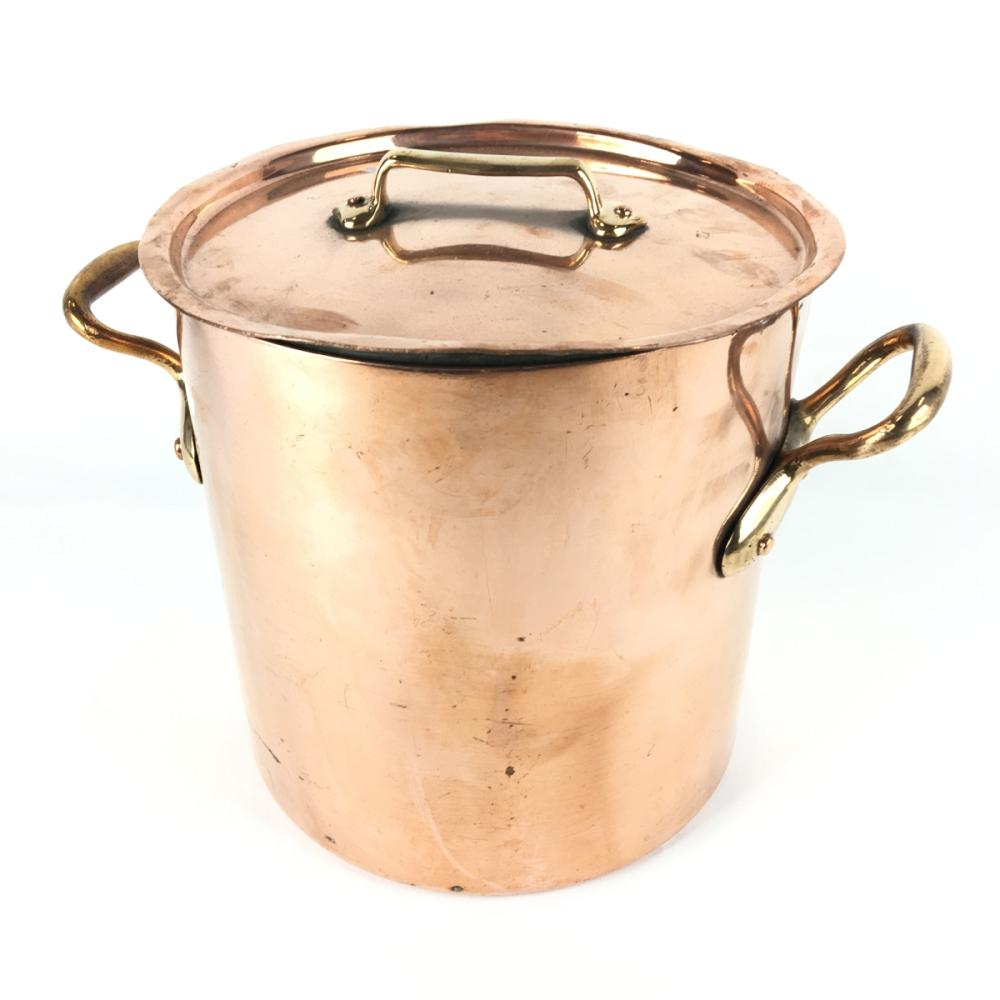 French Copper Stock Pot with Brass Handles and Lid