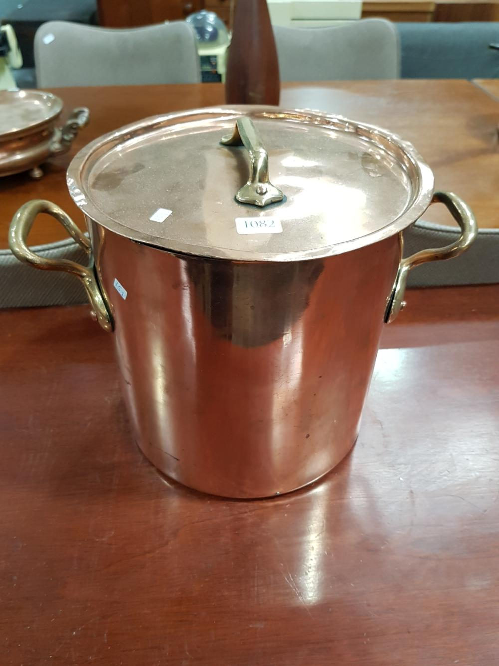 Lot 1082: French Copper Stock Pot with Brass Handles and Lid