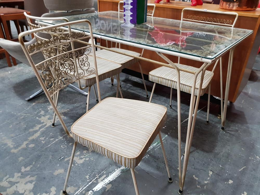 Vintage Metal Five Piece Outdoor Suite incl. Glass Top Table & Four Chairs