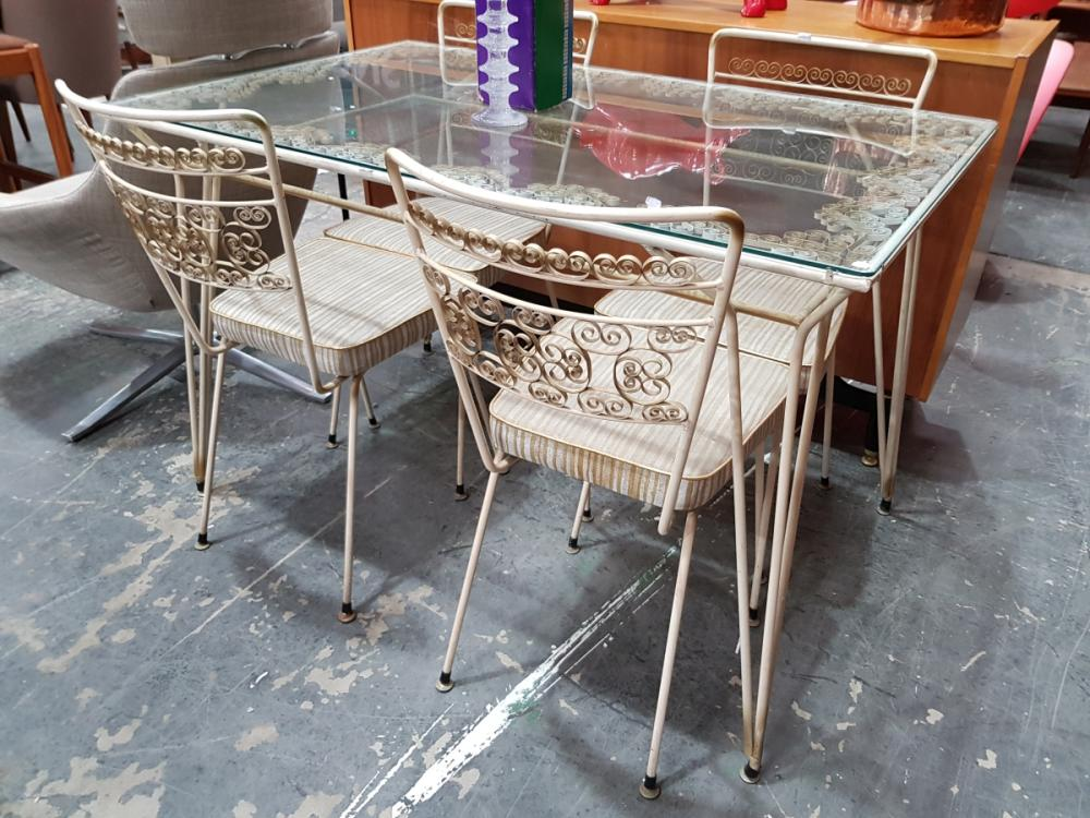Lot 1087: Vintage Metal Five Piece Outdoor Suite incl. Glass Top Table & Four Chairs