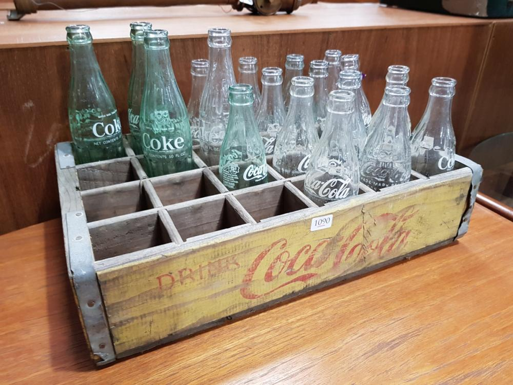 Vintage Coca Cola Crate with Bottles