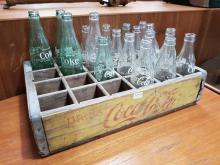 Lot 1090: Vintage Coca Cola Crate with Bottles