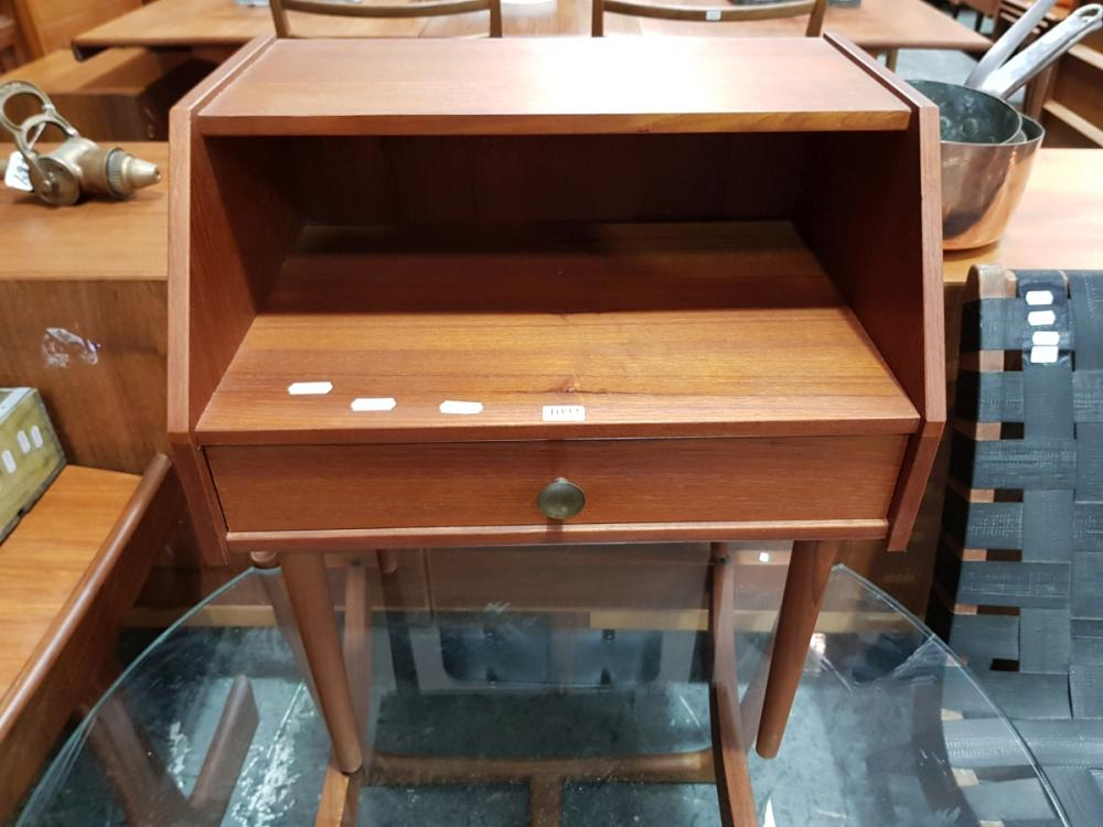 Lot 1092: Teak Side Table with Single Drawer and Open Section