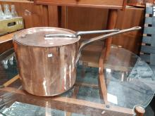 Lot 1093: Antique French Copper Stock Pot with Lid