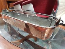 Lot 1096: Large French Copper Poissonier with Strainer and Swing Handle W: 76cm