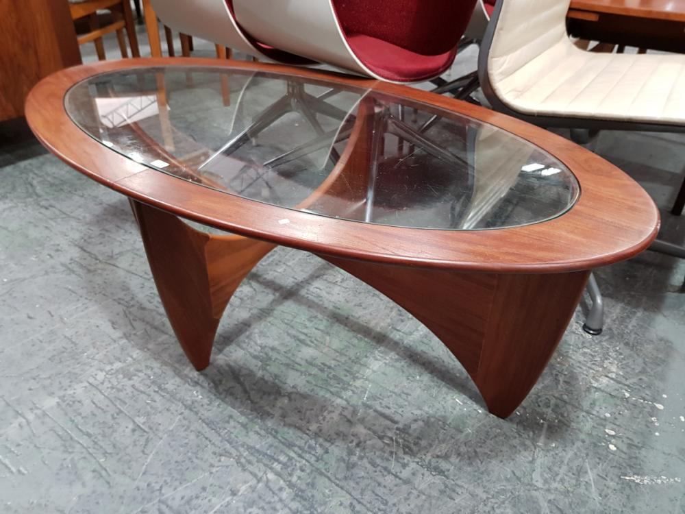 Oval G Plan Teak Atmos Coffee Table with Glass Top