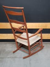 Lot 1101: American Maple Ladder Back Rocking Chair