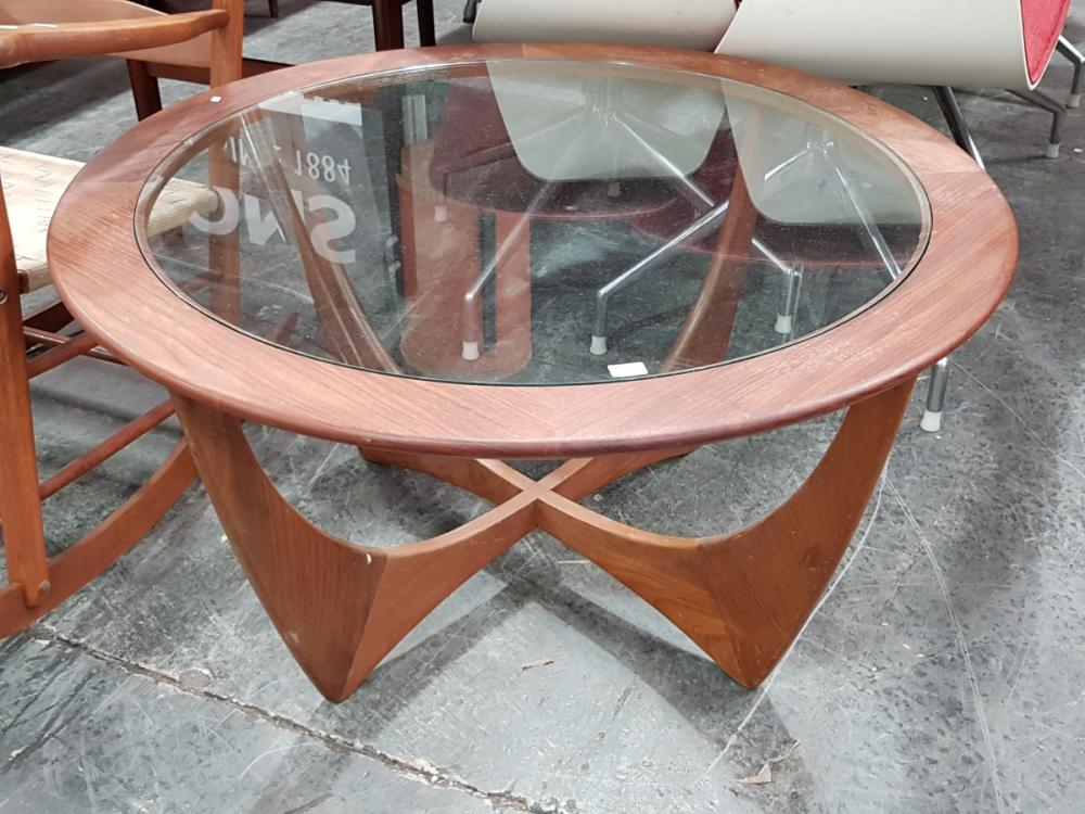 Lot 1103: Circular G Plan Atmos Coffee Table with Glass Top