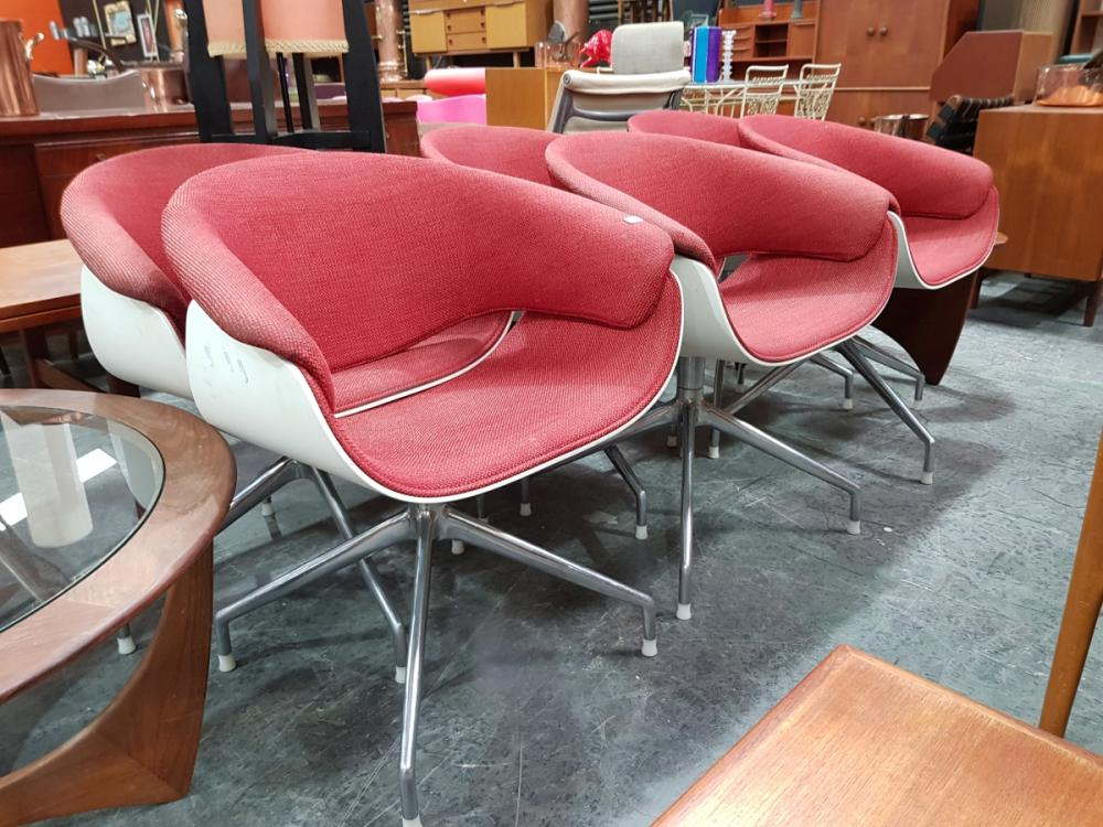 Set of 6 B&B Tub Chairs with Red Upholstered Seats