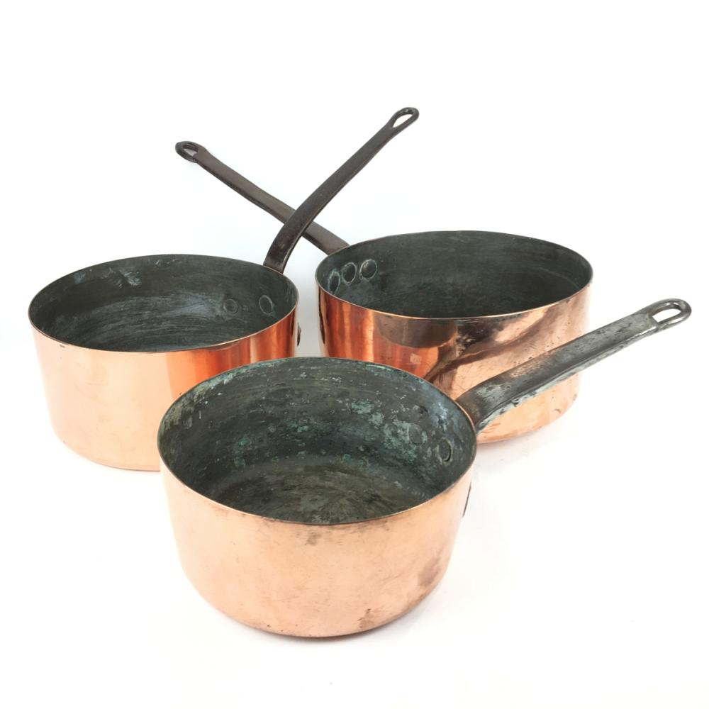 French Copper Saucepans (3) D: 25cm (largest)