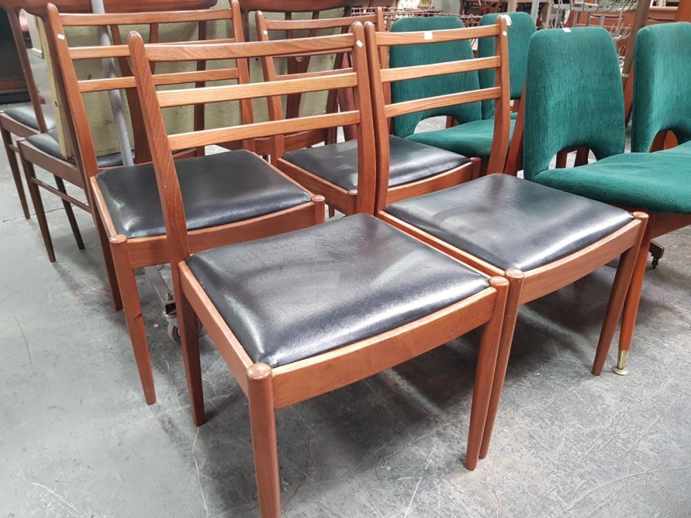 Set of 4 G Plan Teak Dining Chairs Black Upholstered Seats