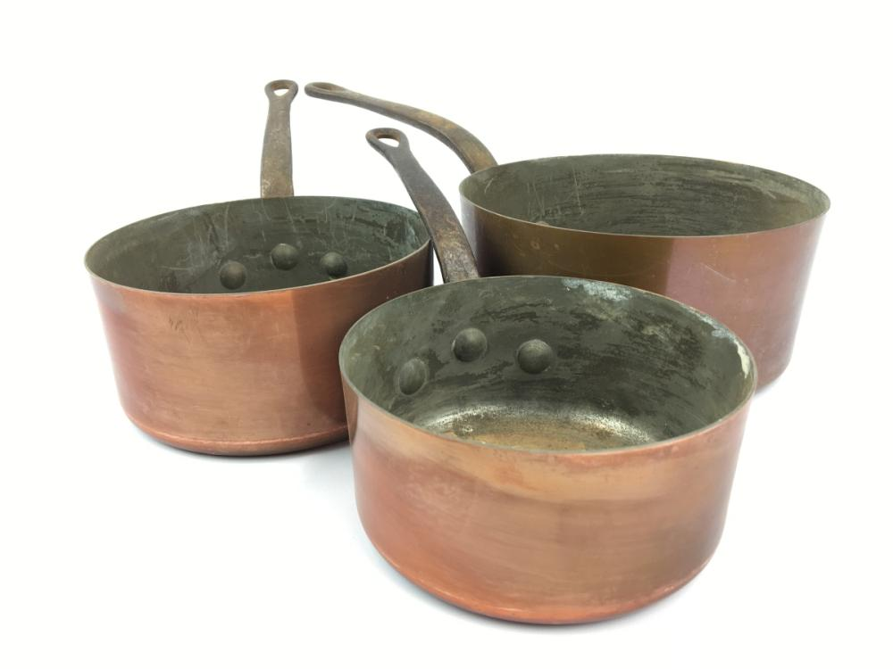 Set of 3 French Copper Saucepans, diameter: 18.5cm (largest)