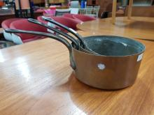 Lot 1124: Set of 3 French Copper Saucepans, diameter: 18.5cm (largest)