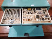 Lot 1137: Vintage Dentists Drawer Unit with Tools