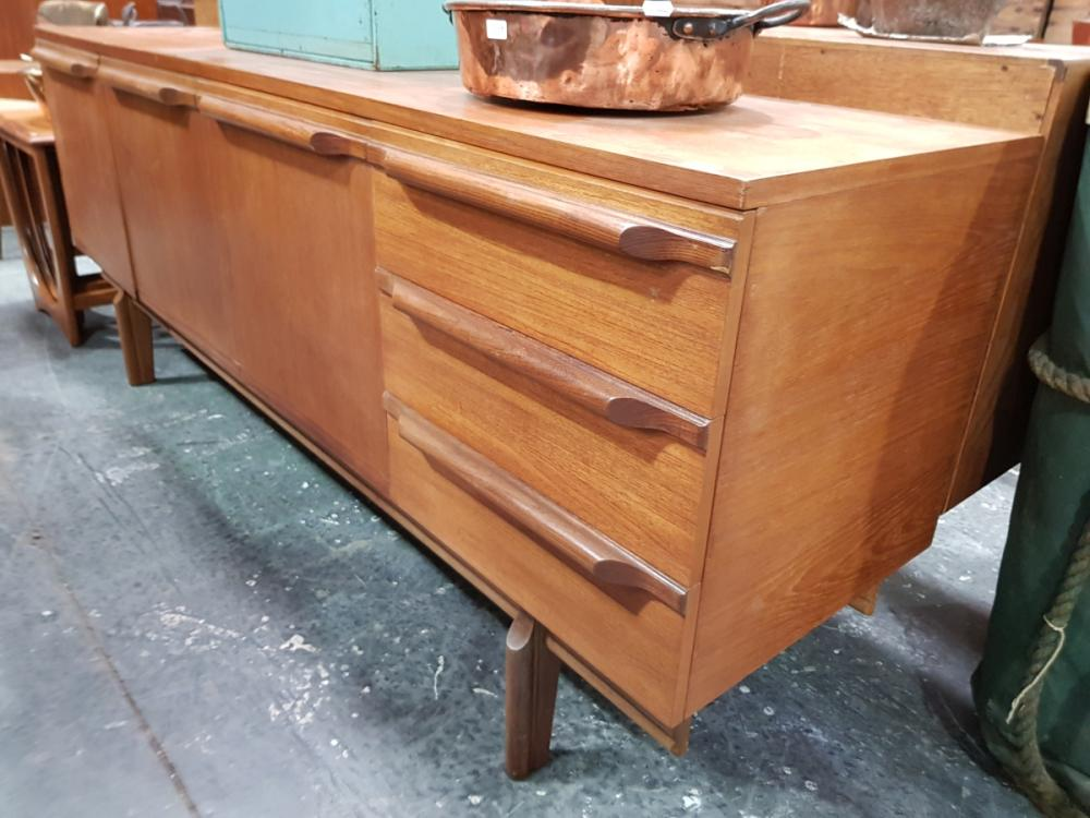 Lot 1139: Quality 1960's Teak Sideboard with 3 Doors and 3 Drawers