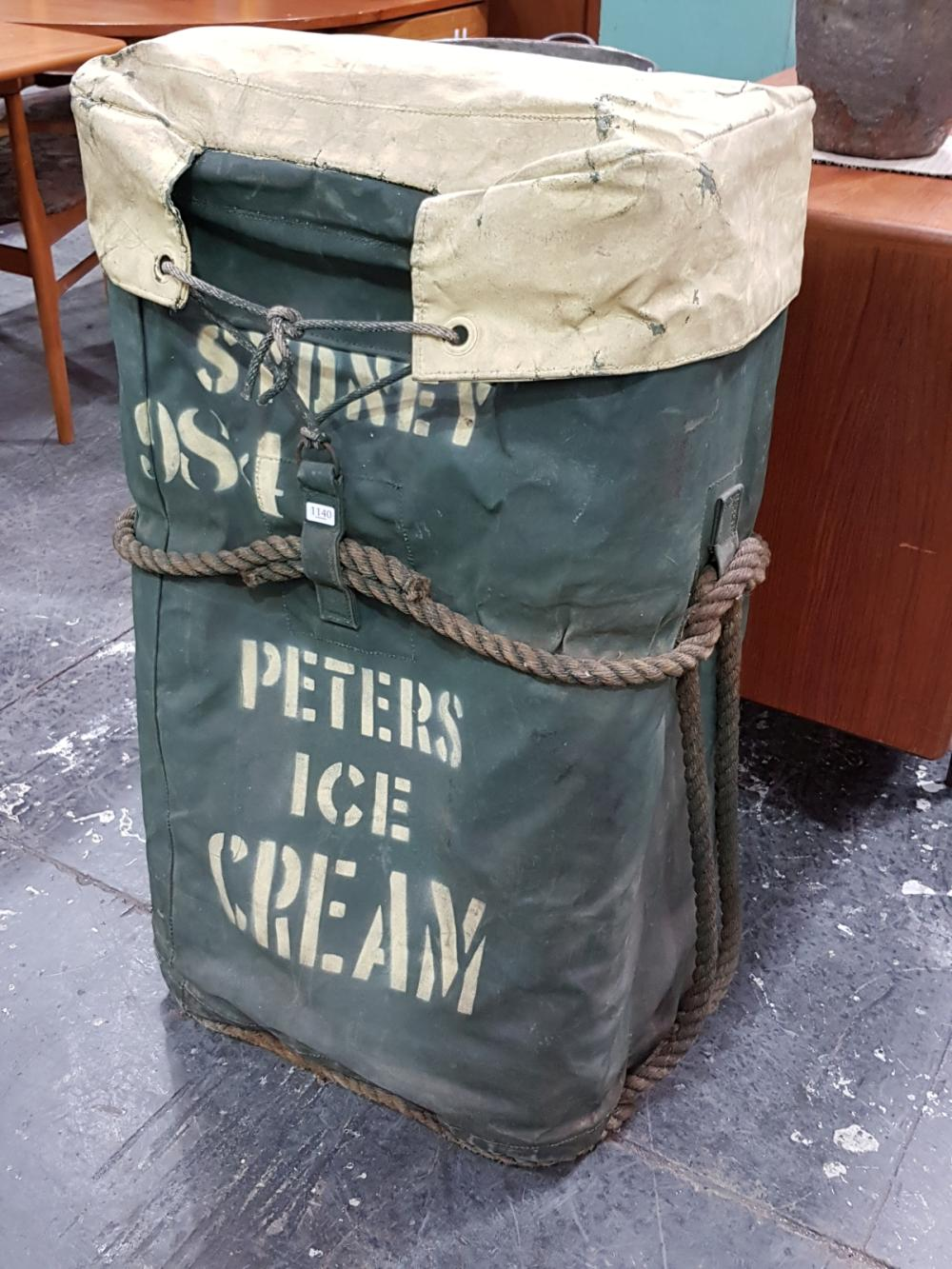 Vintage Canvas Peters Ice Cream Esky