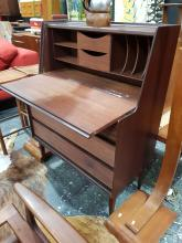 Lot 1144: Richard Hornby Afromosia Bureau with Drop Front Face and 3 Drawers