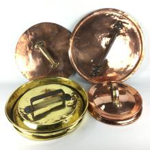 Lot 1154: Large Antique Copper Saucepan Lids (6) and a Brass Example (4 in total) D: 49cm (largest)