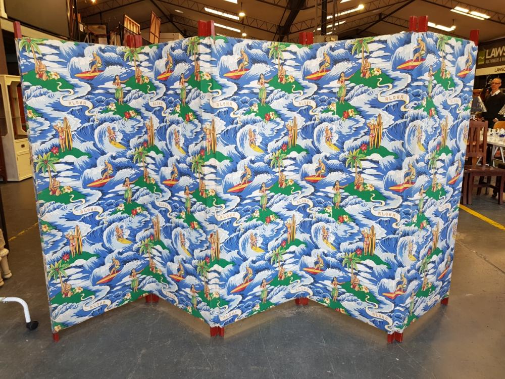 1960s Multi-Part Fabric Screen featuring Surfers in Hawaii