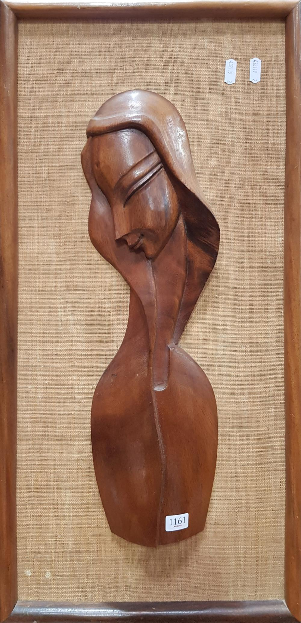 Teak Figure in Fabric Frame