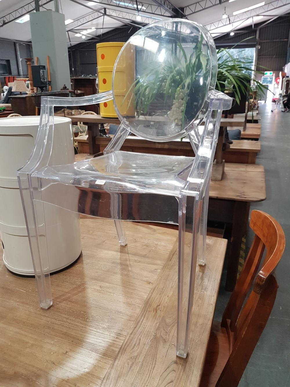 Lot 1186: Set of 3 Ghost Style Dining Chairs