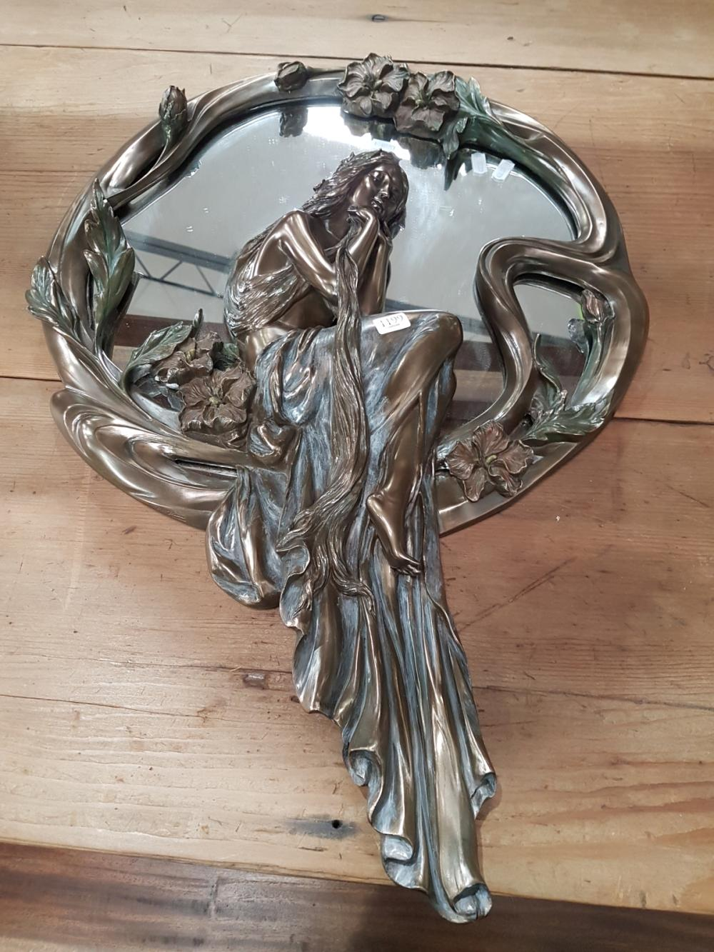 Figural Brass Effect Art Deco Mirror