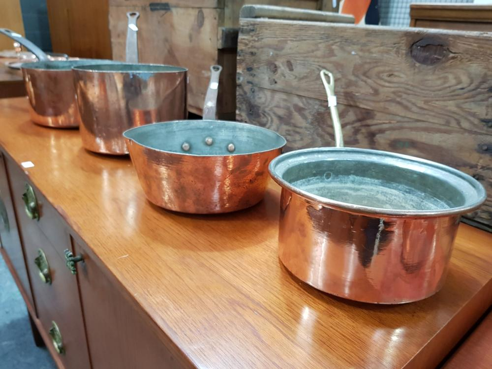 Collection of 4 Old Copper Saucepans D: 25cm (largest)
