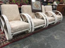 Lot 1046: Set of 4 Vintage Painted Pretzel Cane Armchairs