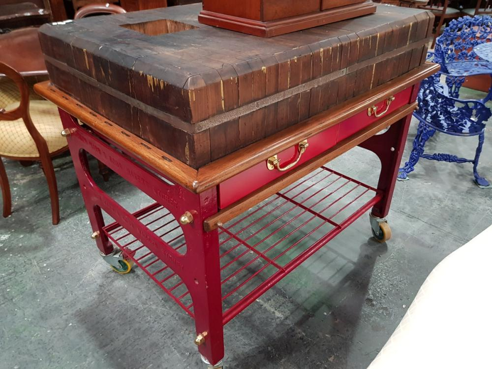 Lot 1021: Gordon Marr & Sons Large Butchers Block on Castors ex. Salvation Army Soup Kitchen, Circa 1900
