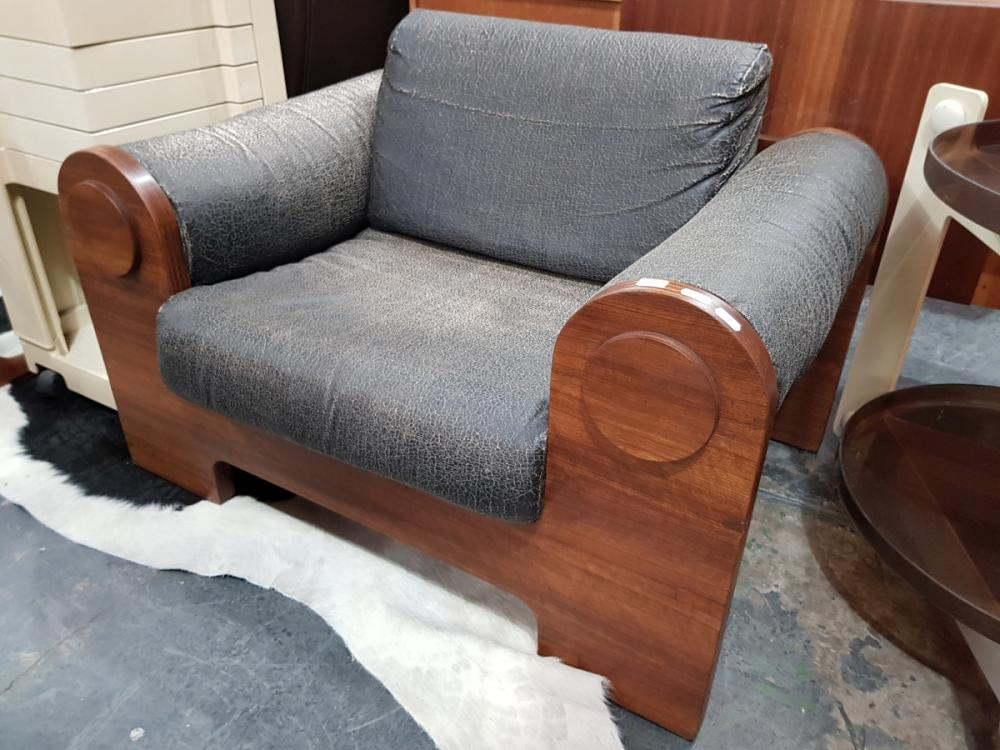 Lot 1060: Unusual Ply Armchair with Faded Leather Seat and Back