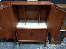 Lot 1069: Younger Teak Cocktail Cabinet with 4 Panel Doors and Fitted Interior