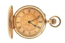 A LADY'S SWISS 14CT GOLD FULL HUNTER POCKET WATCH; 2 tone dial, Roman numerals, stem wind, push piece at 2 o'clock, finely engraved...