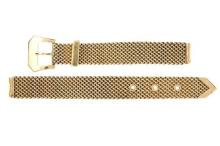 A VINTAGE 14CT GOLD LADY'S BUCKLE MOTIF MESH WATCH BRACELET; width 11.25mm, length 190mm, wt. 27.7g.