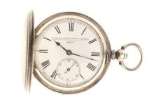 AN HALLMARKED STERLING SILVER FULL HUNTER POCKET WATCH; white dial. Roman numerals, subsidiary seconds, dial and plate movement simi...