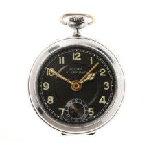 A RARE SOLARA OPEN FACE ALARM POCKET WATCH; frosted black dial Arabic numerals, subsidiary seconds, stem wind and set 7 jewell movem...