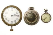 A GROUP OF MISCELLANEOUS WATCHES; an 8 day car clock, with white dial, Arabic numerals, 15 jewell Swiss movement with 3 adjustments,...