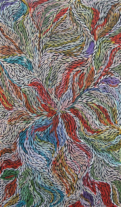 Jeannie Petyarre (c.1957 -) - Bush Medicine Leaves 151 x 90cm