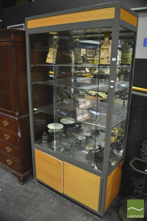 Glass Display Cabinet With Down Lights And Shelving