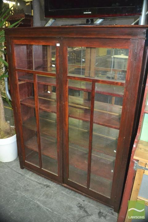 Mirrored Back Display Cabinet W Glass Panel Doors Timber S