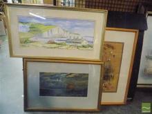 Framed Artworks incl Marilyn Dewar 'Coastguard Cottages', (3)