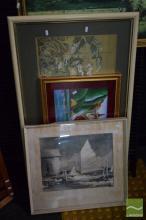 4 Oriental Works plus a Boat Print