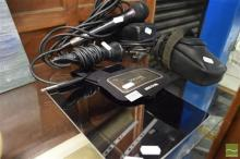 Apple iPad (charger included), iPhone Armband, Vintage Cameras and 2 Microphones