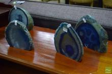 4 Big Blue Polished Geodes