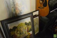 Group of (5) Assorted Artworks incl. Indo-Persian gouache on silk; Indonesian Batik, Julie Brunton watercolour & (2) Decorative Prin...