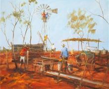 Hugh Sawrey (1919 - 1999) - Repairing No.10 Bore, West QLD 49.5 x 59.5cm