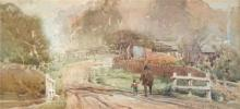 Walter Withers (1854 - 1914) - Road to Eltham 15.5 x 33.5cm